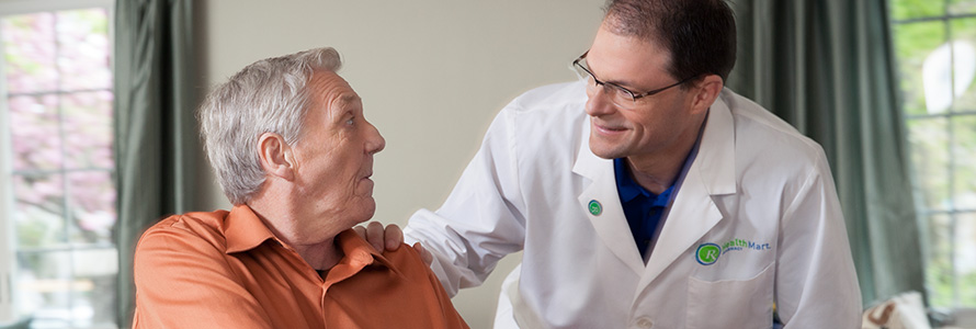 pharmacist with senior man