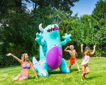 Inflatable monster sprinkler